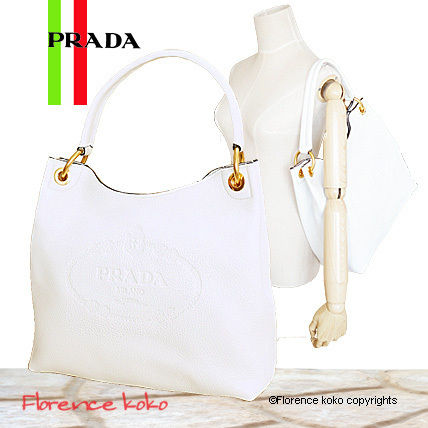 PRADA Totes White Embossed Logo Vitello Daino Leather Tote Bag