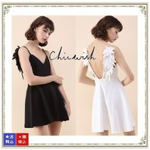 Chicwish Short A-line Sleeveless V-Neck Plain Party Style Dresses