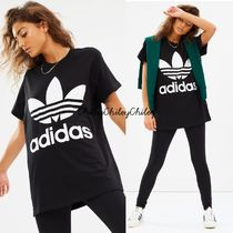 adidas Crew Neck Casual Style Street Style Cotton Medium