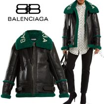 BALENCIAGA Short Bi-color Plain Leather Fur Leather Jackets