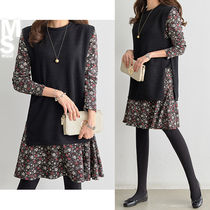 Flower Patterns Flared U-Neck Long Sleeves Medium Dresses