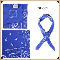 GUCCI Paisley Street Style Cotton Scarves