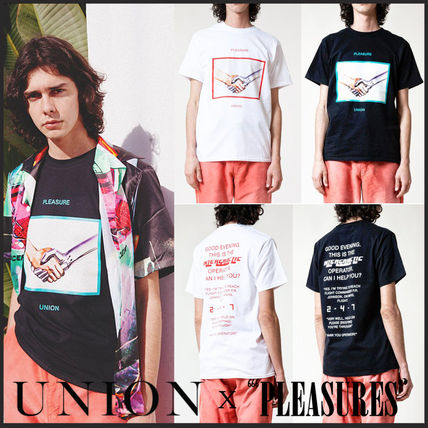 Crew Neck Street Style Bi-color Cotton Short Sleeves