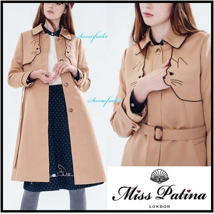 Wool Plain Medium Trench Coats