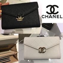 CHANEL Plain Leather Long Wallets