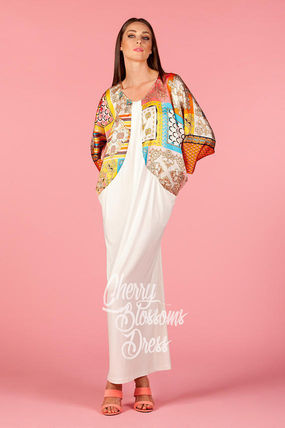 Flower Patterns Tropical Patterns Maxi Long Sleeves Long