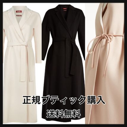 Cashmere Plain Medium Elegant Style Wrap Coats