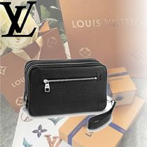 Louis Vuitton TAIGA Casual Style Bag in Bag Plain Leather Clutches