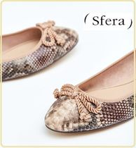 Sfera Round Toe Casual Style Python Ballet Shoes