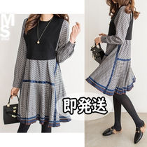 Nylon Flared Street Style U-Neck Long Sleeves Medium Dresses