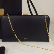 CELINE Clasp Calfskin 2WAY Chain Plain Party Style Clutches