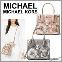 Michael Kors MERCER Flower Patterns Studded 2WAY Plain Leather With Jewels