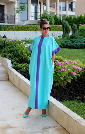Stripes Maxi Long Short Sleeves Party Style Oversized