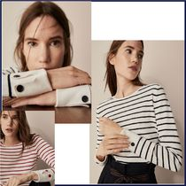 Massimo Dutti Stripes Casual Style Long Sleeves Cotton Medium Sweaters