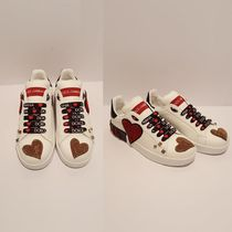 Dolce & Gabbana Flower Patterns Leather With Jewels Low-Top Sneakers