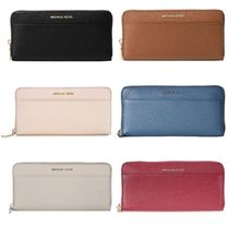 Michael Kors MERCER Plain Leather Long Wallets