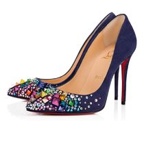 Christian Louboutin Suede Blended Fabrics Studded Plain Pin Heels Party Style