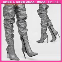 DOLLS KILL Casual Style Faux Fur Plain Pin Heels Over-the-Knee Boots