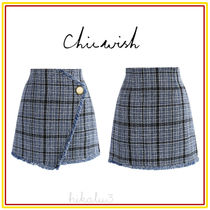 Chicwish Pencil Skirts Short Other Check Patterns Tassel