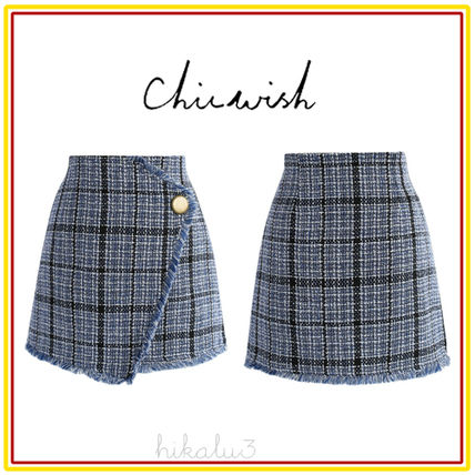 Pencil Skirts Short Other Check Patterns Tassel