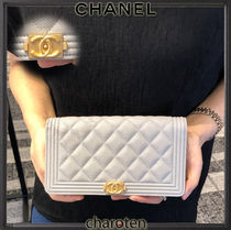 CHANEL BOY CHANEL Unisex Calfskin Plain Long Wallets