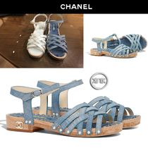 CHANEL Open Toe Platform Blended Fabrics Plain Leather