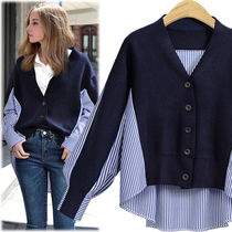 Stripes Casual Style Blended Fabrics Puffed Sleeves