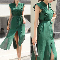 Sleeveless Flared V-Neck Plain Long Elegant Style Dresses