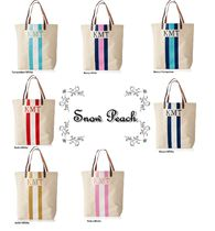 marc AND graham Stripes Casual Style Canvas Bi-color Totes