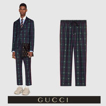 GUCCI Tartan Wool Other Animal Patterns Cropped Pants