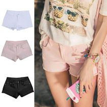 Short Casual Style Street Style Plain Cotton Special Edition