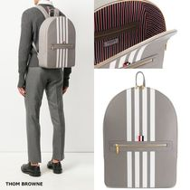 THOM BROWNE Stripes Leather Backpacks