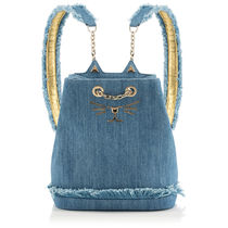 Charlotte Olympia Casual Style Plain Other Animal Patterns Fringes Backpacks