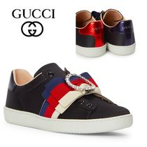 GUCCI Round Toe Rubber Sole Casual Style Low-Top Sneakers