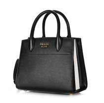 PRADA Black Saffiano Calf Leather Small Bibliotheque Handbag