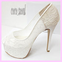 Flower Patterns Open Toe Platform Plain Elegant Style
