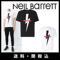 NeIL Barrett U-Neck Cotton Short Sleeves T-Shirts