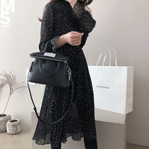 Dots Chiffon Street Style Long Sleeves Long Formal Style