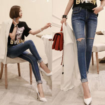 Casual Style Street Style Plain Long Skinny Jeans