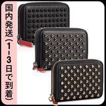 Christian Louboutin Panettone  Unisex Calfskin Studded Bi-color Plain Coin Cases