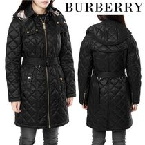 Burberry Tartan Long Down Jackets