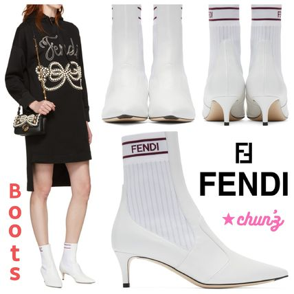 2bc754f1e0 FENDI 2018 SS Casual Style Leather Pin Heels Ankle & Booties Boots