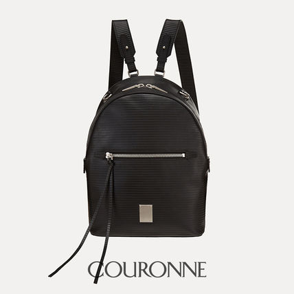 Casual Style 3WAY Plain Leather Backpacks