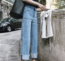 Casual Style Denim Street Style Plain Medium Oversized