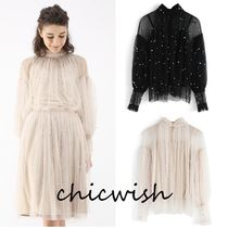 Chicwish Puffed Sleeves Plain Medium With Jewels Elegant Style