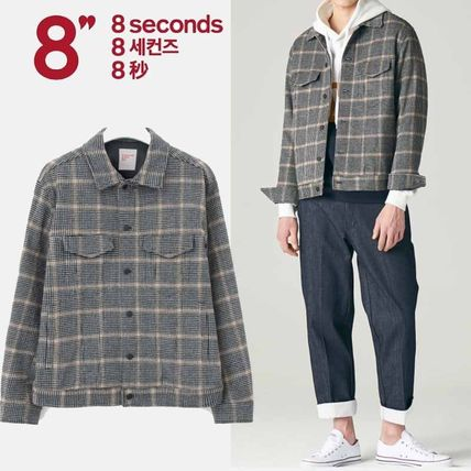 Short Other Check Patterns Wool Jackets