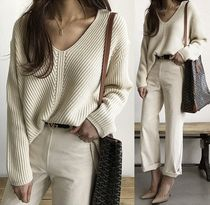 V-Neck Long Sleeves Plain Sweaters