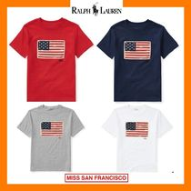 Ralph Lauren Crew Neck Short Star Plain Cotton Short Sleeves Cropped