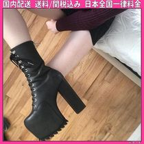 DOLLS KILL Round Toe Lace-up Faux Fur Plain Block Heels Lace-up Boots