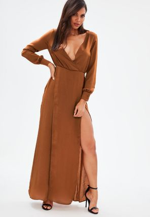 Maxi V-Neck Long Sleeves Plain Long Home Party Ideas Dresses
